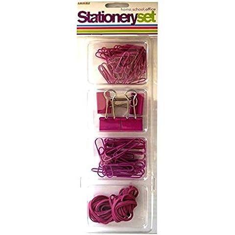 Stationery set di accessori, colore: rosa piccola e grande carta, Clip, elastici di