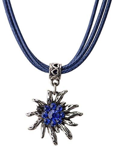 Trachtenkette Wiesnsonne Eleganter und Funkelnder Edelweiss Anhänger mit Strass - Trachtenschmuck Kette für Dirndl und Lederhose (Blau)