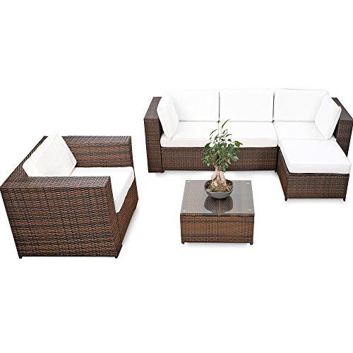 18tlg. Loungeset Polyrattan Loungeecke XXL für Balkon und Terrase erweiterbar - Lounge Eck Set...