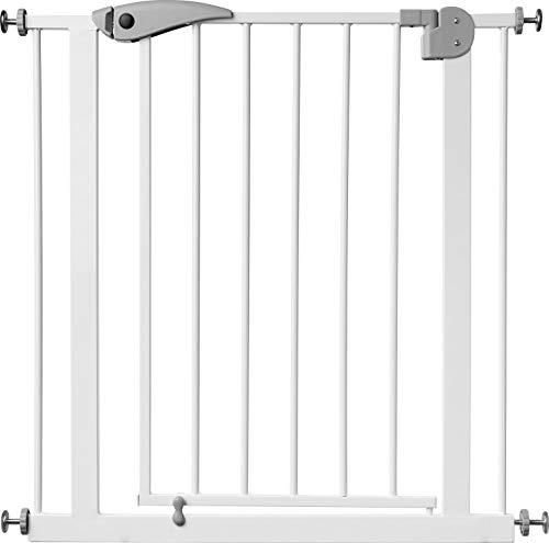 ib style® Berrin Treppengitter 75-175cm | Haustiergitter |Türschutzgitter | Ohne Bohren | Auto-Close| Weiß-grau | 85-95 cm