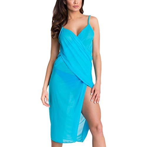 Aquarti Damen Strandkleid Wickelkleid Pareo V-Ausschnitt, Farbe: Türkis, Größe: S/M