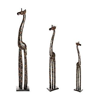 3 er Set Holz Giraffen Holzgiraffe Holzgiraffen Familie Giraffe Afrika 40cm 30cm 20cm Set GD