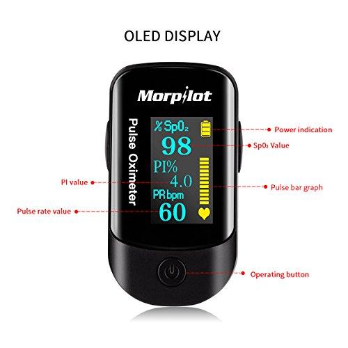 Oxímetro de pulso Oxímetro de dedo Morpilot OLED monitor digital de la saturación del oxígeno de la sangre de la lectura del instante(incluye bolsas de viaje AAA pilas y un cordón)