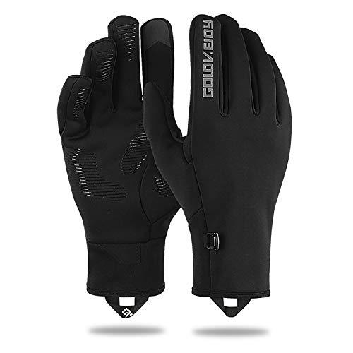 LANYI Winter-Outdoorhandschuhe für Männer und Frauen, Touchscreen, Winddicht, Radfahren, Fahren, Klettern, Thermo-Handschuhe, warmes Innenfutter, Herren, Black-23, Large -