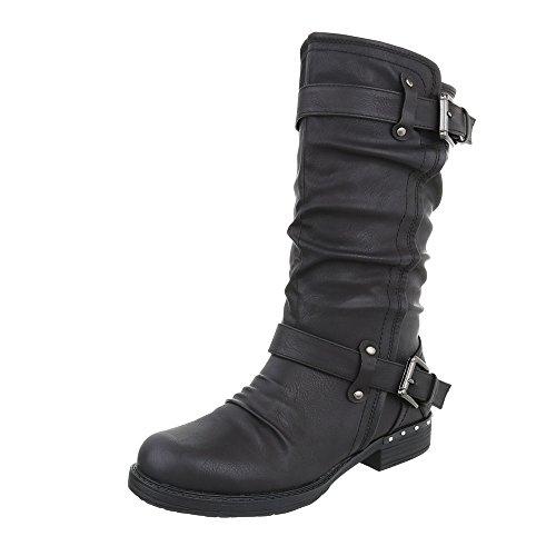 Ital-Design Western- & Bikerstiefel Damen-Schuhe Western- & Bikerstiefel Blockabsatz Blockabsatz Reißverschluss Stiefel Schwarz, Gr 36, 9858-1- (Glitzer Schwarze Stiefel)