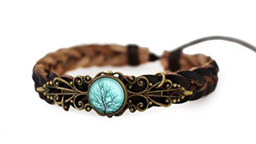 Miss Lovie Damen Schmuck Lederarmband Armschmuck Vintage Flechtarmbänder Blätter Lebensbaum Natur Blau Bronze