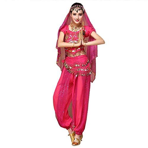 OSYARD Frauen Bauchtanz Outfit Kostüm Indien Tanz Kleidung Tops und Hosen, Chiffon Solide Rundhals Reizvoller Tops und ()