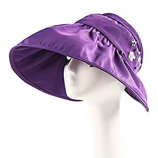 H-M-STUDIO Summer Sunshade capanti-Ultraviolet Sun capbrim Sunscreen capfoldable air-top Cool Cap,B,Violet