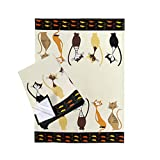 SPOTTED DOG GIFT COMPANY Lot de 2 Torchons de Cuisine, Coton Lavable 50 x 70 cm, Motif Chat Élégants, Décoration Cuisine Cadeau pour Femme Amoureux des Chats
