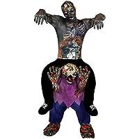 Déguisement pour adulte de zombie avec une combinaison seconde peau + un pantalon en forme de zombie qui donne l'impression de vous portez sur ses épaules. Idéal pour les fêtes d'Halloween ou les enterrements de vie de garçon.