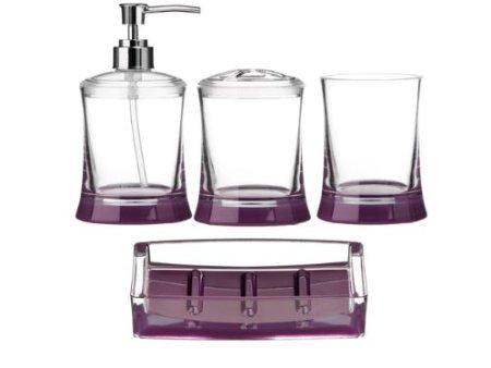 Set da bagno, 4 pezzi, in acrilico trasparente, dispenser per