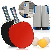 Juego de pingpong – Incluye red de ping pong para cualquier mesa, 2 palas de ping-pong, 3 pelotas de ping-pong, juego de tenis de mesa portátil accesorios de tenis para jugar en casa y al aire libre