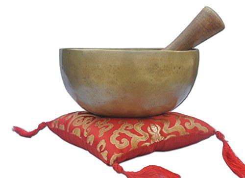 Lotus Root Flower (Klangschale Set ~ für Chakra Heilung, Gebet, Yoga, und Achtsamkeit ~ LOTUS FLOWER Mallet & Kissen ~ Handmade in Nepal ~ Perfekte Geschenk, 20,3cm goldfarben Metall, Komplett-Set of- 1Stück)