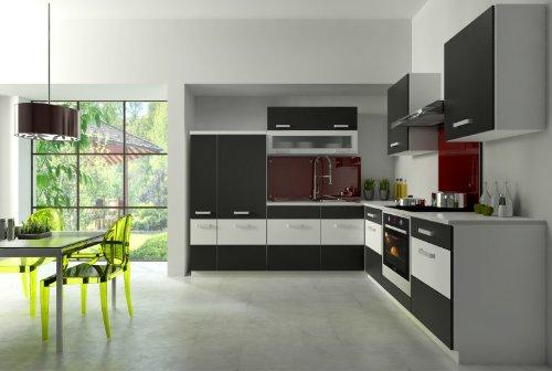Küche Fabienne 260x220 cm Küchenzeile in schwarz/weiß - Küchenblock variabel stellbar