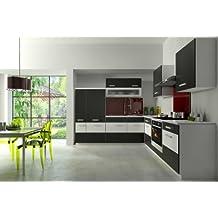 Küche Fabienne 260x220 cm Küchenzeile in schwarz / weiß - Küchenblock variabel stellbar