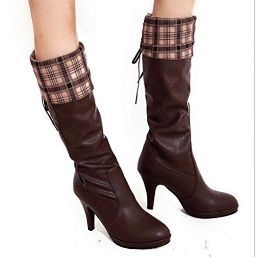 9f6a5a055b672b Padgene Damen Langschaft Stiefel Vintage Schnürung Stiefelletten Braun ...