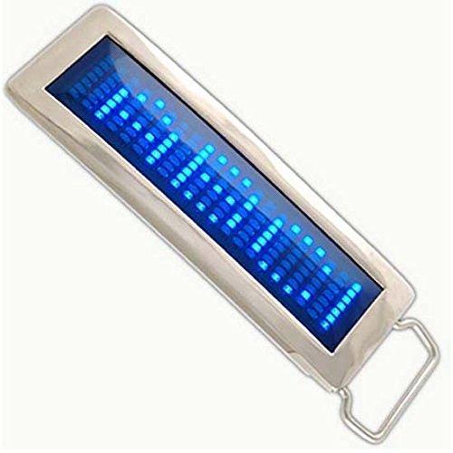 iKKEGOL Programmable Blue DIY Text Name Flash LED Chrome Scrolling Belt Buckle Disc Party Gift (Blue) by iKKEGOL -