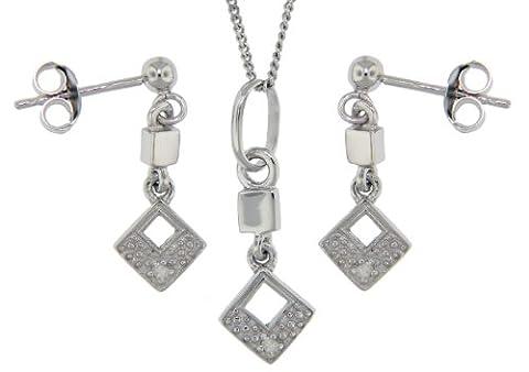 Tuscany Silver Set Ohrringe und Halskette Rhodiniert Sterling Silber Quadratisch 0.03ct Diamant (0,03 Ct Diamant-set)