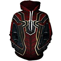 TOYSSKYR Iron Spiderman Adult Clothing Print Hoodie Sweatshirt ( Color : Black-1 , Size : L )