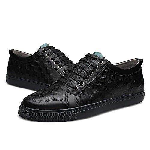 SONGYUNYAN Herren outdoor-Freizeit-Luft von England geprägtes Leder Business Fashion-Sneaker Bootsschuh Black
