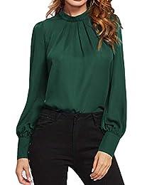 YunYoud Fashion Solid Damen Langarm Chiffon Kausal Lose Top Tunika Bluse  Shirt longbluse elegante blusen karierte bluse damen schwarz… 2b70bab2a6