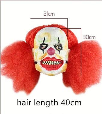 ke mit Perücke Gruselig Pennywise Clown Vollgesichtsmaske für Erwachsene Latex Ghul Predator Terror Party Prop Boshaft, rot ()