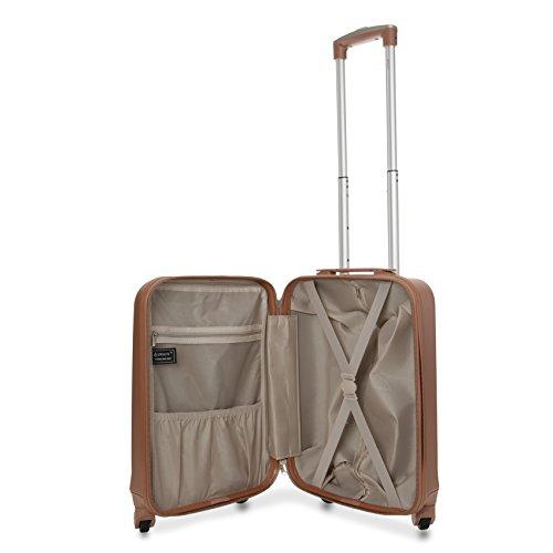 Aerolite Leichtgewicht ABS Hartschale 4 Rollen Handgepäck Trolley Koffer Bordgepäck Kabinentrolley Reisekoffer Gepäck, Genehmigt für Ryanair, Easyjet, Lufthansa und viele mehr (Roségold + Kohlegrau) - 4