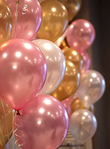 Theme My Party Metallic Good Quality Balloons - Pack of 50 (Pink, Golden & White)