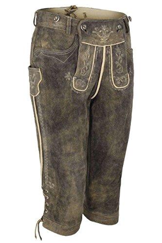 Herren Spieth & Wensky Kniebundlederhose mit Stegträger Wildbock Antik dunkelbraun, braun, 56
