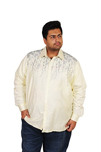 M LARGE Men's Light Yellow Designer Printed 100% Cotton Casual Shirt  available at amazon for Rs.1349