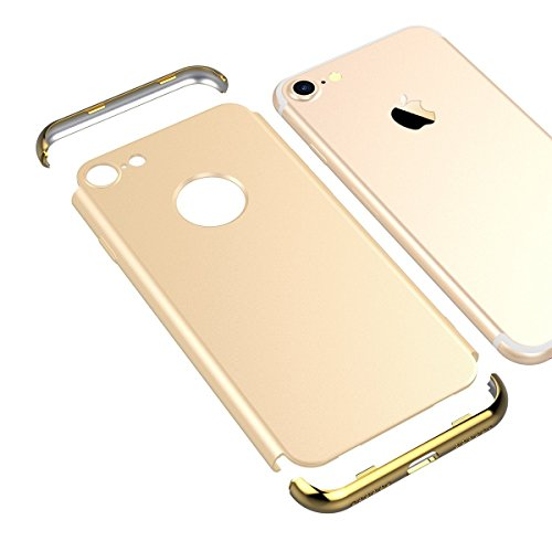it iPhone 8 Hülle Hard Handyhülle Ultra Slim Dünn 360 Hardcase Full Body Case 3 in 1 Gold Bumper Schutz Schutzhülle Anti-Kratzer Protective Stoßfest PC Cover Matt - Gold ()