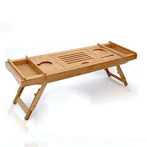 Laptop-schreibtisch-caddy (Stand MEIDUO Bambus Badewanne Tablett, Bett Laptop Schreibtisch mit faltbaren Beinen, Badewanne Caddy mit verstellbaren Beinen, Weinglas & iPad Halter. sehr langlebig)