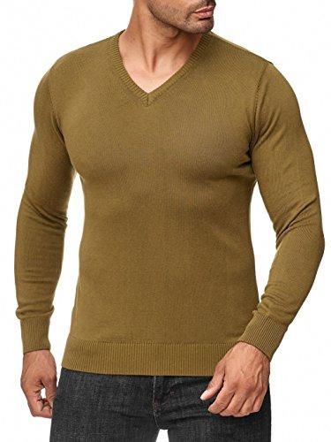 BARBONS Herren Pullover mit V-Ausschnitt - Slim-Fit - Hochwertige Baumwollmischung - Feinstrick-Pullover - Khaki L -