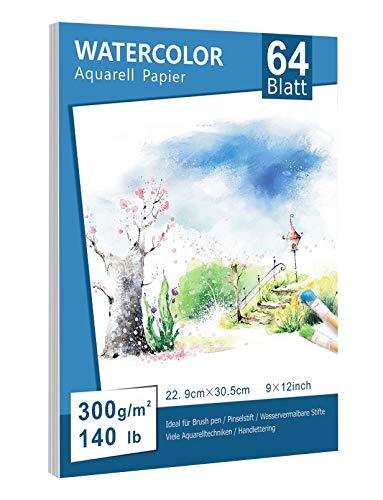 Premium Aquarellpapier(22.9 x 30.5cm, 64 Blatt), Lelengder Aquarellblock Glatt Watercolor Paper Strukturiert & Matt Aquarell Papier für Aquarellmalerei Wasserfarben Gouache Acryl Aquarelltechniken