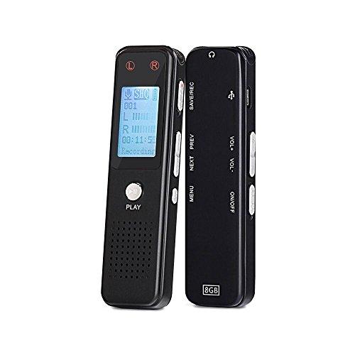 Digital Voice Recorder von Aurtec, 8GB 384Kbps Sound Audio Recorder Diktiergerät mit USB & MP3 Player, Voice aktiviert, Doppel-Mikrofon, Metallgehäuse, Schwarz