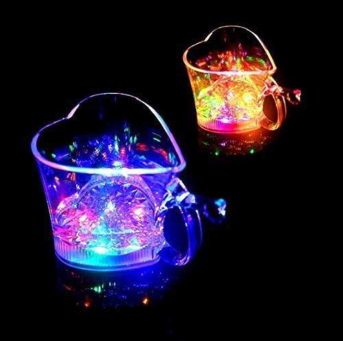 Gwill 2 Pack Wasser Aktiviert Automatische Bar Gläser Bunte Blinkende Herzförmige LED Schnapsgläser Blinkt Bier Wein Drinkware Glow Gläser Tassen für Weihnachtsfeier Liefert (Blinkende Glas Wein)