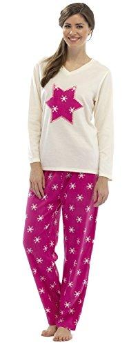 Pour Femmes Fairisle Manches Longues Imprimé Pyjama Polaire Étoile Crème
