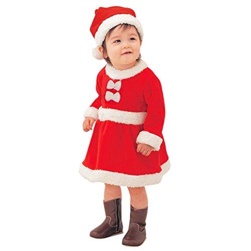 LAEMILIA Baby Mädchen Kleid Weihnachten Kostüm Weihnachtsmannkostüm Weihnachtskleid mit Hut Weihnachtsmütze für Kleinkinder (Größe 80-86, Rot)