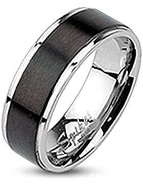Paula & Fritz® Ring aus Edelstahl Chirurgenstahl 316L 7mm breit Schwarzes Band gebürstet verfügbare Ringgrößen...