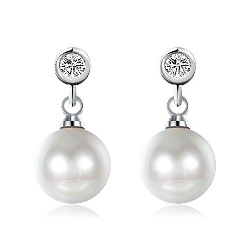 Daesar Orecchini Pendenti In Acciaio Inossidabile Con perla Orecchini Rotondi Con Zirconi Cubici Argento