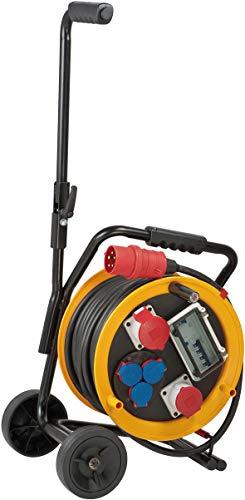 Brennenstuhl Brobusta CEE 2 FI IP44 Industrie/Baustellen-Kabeltrommel mit Wagen (30m - Spezialgummi, Baustelleneinsatz und Einsatz im Außenbereich, Made In Germany) gelb