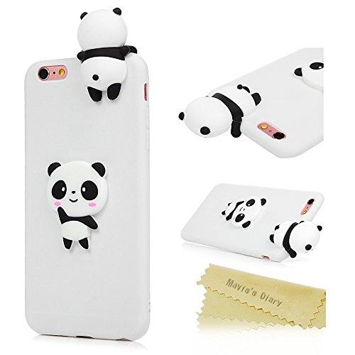 Coque iPhone 6 / iPhone 6S Mavis's Diary Étui Housse de Protection TPU Silicone Gel Souple 3D Bumper Phone Case Cover Protection écran Swag Pour iPhone 6 / 6S 4.7'' + Chiffon - Licorne Panda blanc