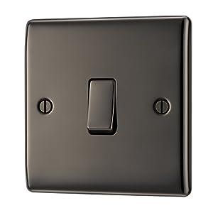BG Electrical Single Light Switch, Black Nickel, 2-Way, 10AX