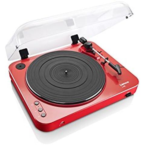 LENCO L-85 Giradischi con Registrazione Diretta su USB Key, Trazione a cinghia, Semiautomatico, Testina magnetica, Rosso Laccato
