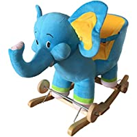 NEW Plush ELEPHANT Rocking Chair on Wooden Rockers with Wheels + Sound Effects