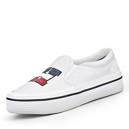Tommy Hilfiger Tommy Sequins Flatform Sneaker, Scarpe da Ginnastica Basse Donna Bianco (White 100)
