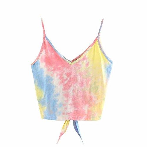 BURFLY Damen-Leibchen Womens Sexy Weste Fashion Freizeit Tie-gefärbtes ärmelloses Short Sleeveless T-Shirt (M, Pink) (Gefärbt Shorts)