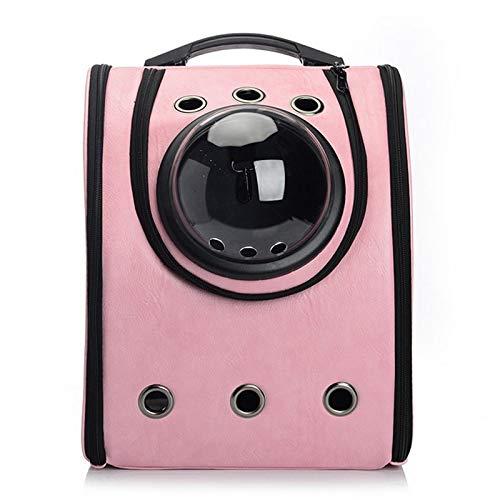 Tragbarer Träger Cat Bubble Pet Carrier Rucksack Belüfteter, von der Fluggesellschaft zugelassener Reisehaustierrucksack für Katzenhunde Umschaltbare Luftblasen und Belüftungsgitter (Color : Pink) (Carrier Pink Fluggesellschaft Pet)