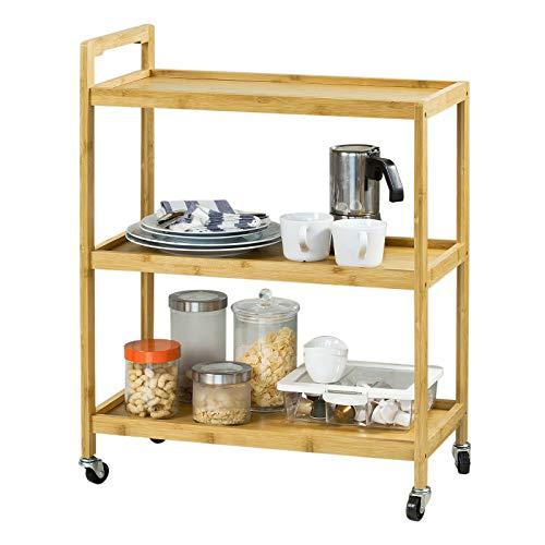SoBuy® Servierwagen, Küchenwagen, Küchenregal, Rollwagen, Teewagen, FKW34-B-N