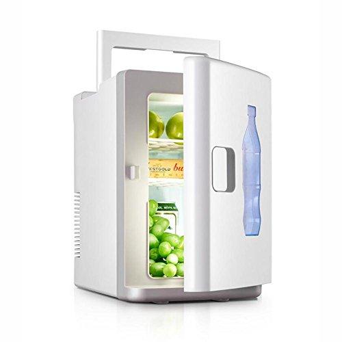 HuanLeBao Thermoelektrische Kühlbox, 10Liter, anschlussfertig für den PKW, 12-Volt, Kühlen und Heiz-Funktion, tragbarer Mini-Kühlschrank,60w , Weiß , 10L